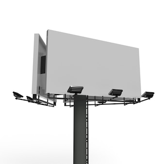 Pusty billboard z reklamą w centrum uwagi na białym tle