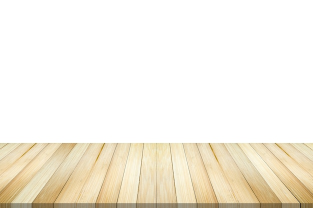 Pusty blat z drewna bambusowego na białym tle do montażu wyświetlacza produktu