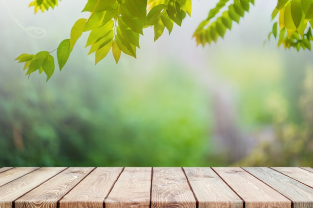 Pusty blat z drewna i niewyraźne zielone drzewo
