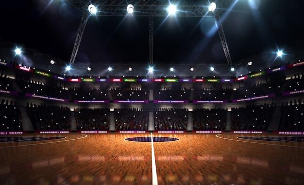 Pusty boisko do koszykówki renderowania 3d