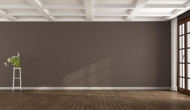 Pusty brązowy pokój