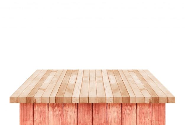 Pusty brown drewniany półka stół odizolowywający na bielu
