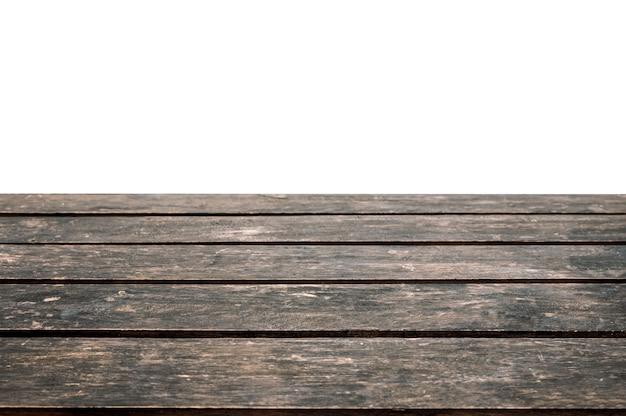 Pusty ciemny blat z twardego drewna na białym tle. wyświetlacz produktu montażowego