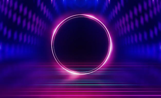 Pusty ciemny streszczenie tło. tło pusta scena show. blask neonów i neonowych postaci na pustej scenie koncertowej. odbicie światła na chodniku.