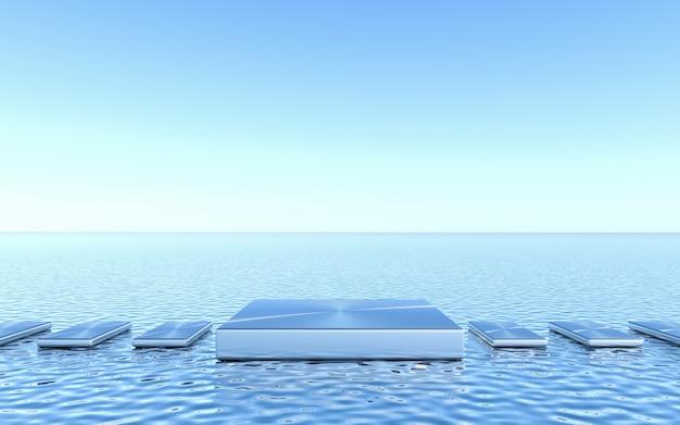 Pusty cokół na tle wody. streszczenie minimalne geometryczne. renderowanie 3d
