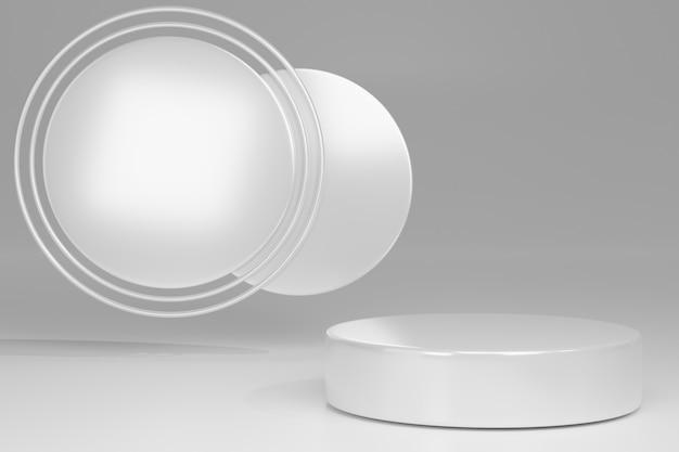 Pusty cokół z okrągłą białą ramką na szaro, makieta renderowania 3d