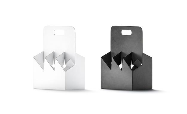 Pusty czarno-biały kartonowy uchwyt na butelkę makieta puste jednorazowe opakowanie kartonowe makieta
