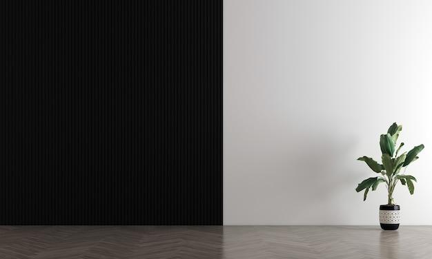 Pusty czarno-biały salon ścienny ma sofę i dekoracje, makiety wnętrza, renderowanie 3d