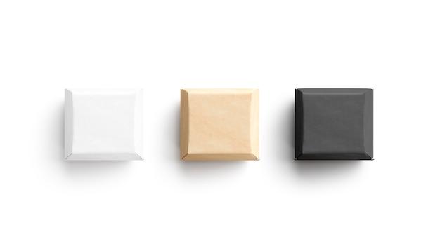 Pusty czarny biały i rzemieślniczy burger box makieta renderowania 3d pusty kwadratowy pojemnik na kanapki makieta