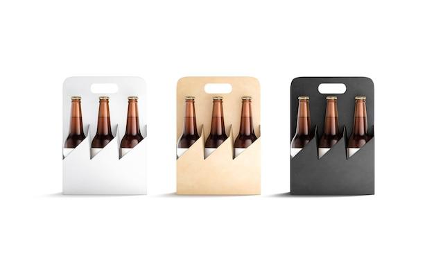 Pusty czarny biały i rzemieślniczy uchwyt kartonowy do makiety butelki pojemnik na makiety butelki piwa