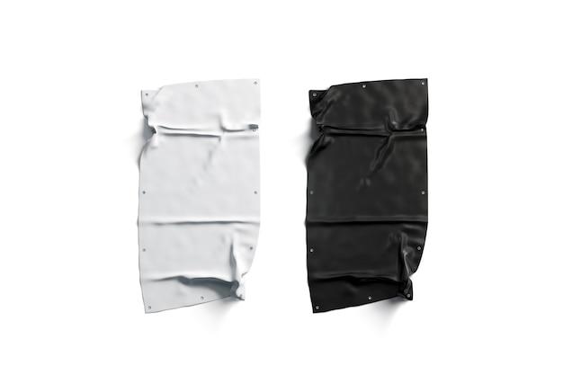 Pusty czarny i biały składany zestaw banerów stretch, na białym tle,
