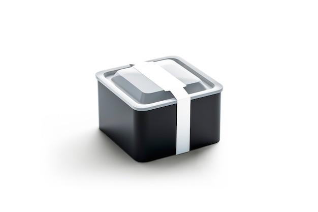 Pusty czarny kwadratowy jednorazowy pojemnik z białą prostokątną etykietą, renderowanie 3d. opróżnij plastikową tackę na wynos. przezroczyste pudełko na lunch z naklejką na opakowanie.