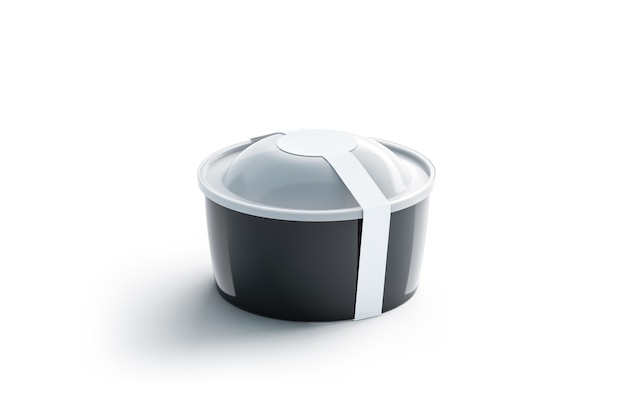 Pusty czarny okrągły pojemnik jednorazowy z białą okrągłą etykietą, na białym tle, renderowania 3d.