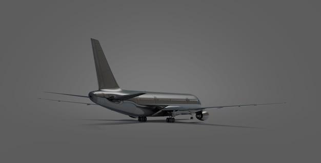 Pusty czarny samolot na białym tle