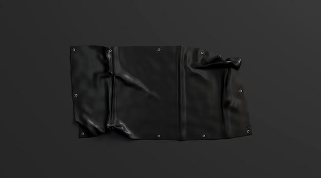 Pusty czarny składany rozciągliwy sztandar na ciemnym tle