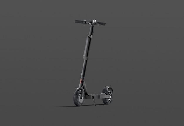 Pusty czarny skuter elektryczny z banerem
