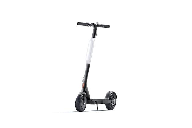 Pusty czarny skuter elektryczny z białym sztandarem makiety