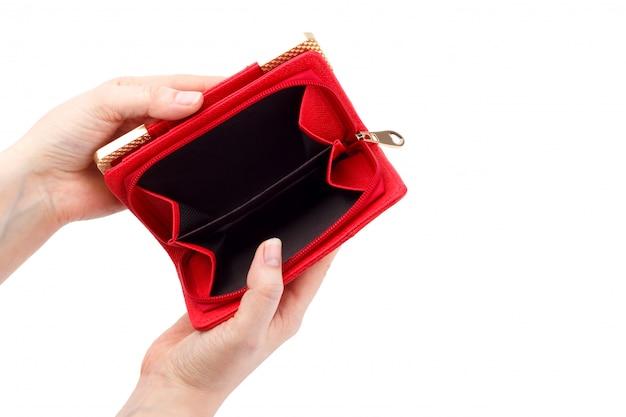 Pusty czerwony portfel