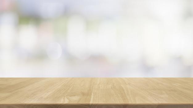 Pusty drewniany blat i rozmycie wnętrza szklanego okna