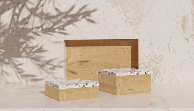 Pusty drewniany stojak i lastryko z renderowaniem 3d i marmurowym tłem cienia liści