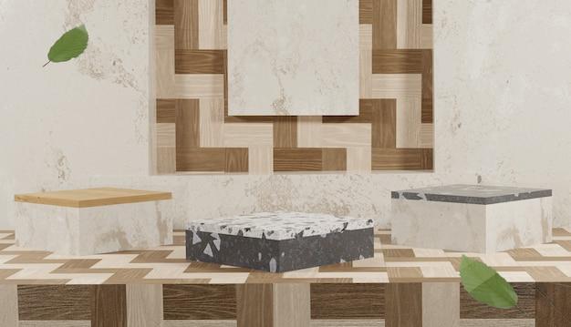 Pusty drewniany stojak i lastryko z renderowaniem 3d i opadającymi liśćmi jesienią