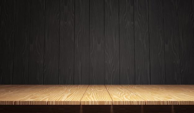 Pusty drewniany stół do lokowania produktu lub montażu z naciskiem na blat na pierwszym planie z czarnym tłem drewna. renderowanie ilustracji 3d.