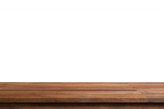 Pusty drewno stół dalej odizolowywa białego tła i pokazu montaż z kopii przestrzenią dla produktu.