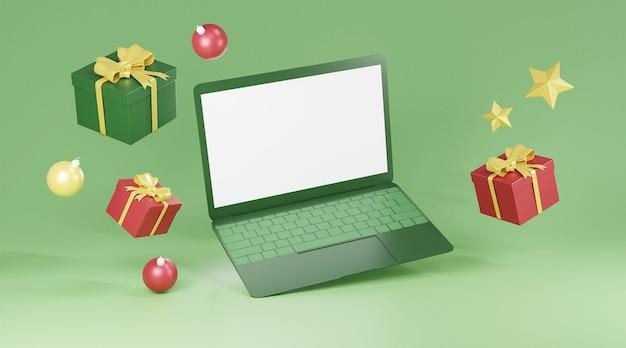 Pusty ekran komputera i ozdoby świąteczne