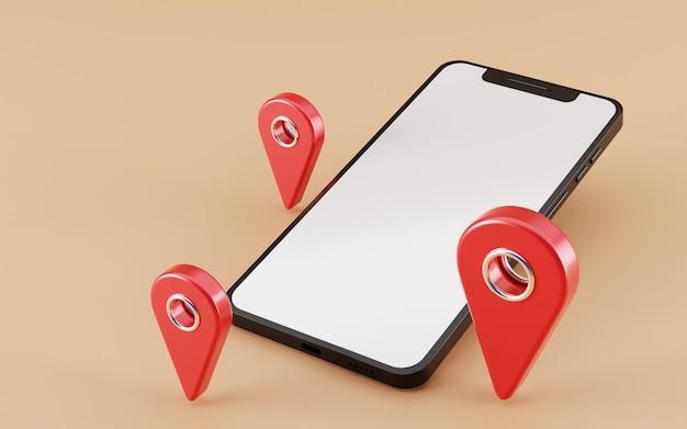 Pusty ekran smartfona z czerwony wskaźnik mapę ikona renderowania 3d