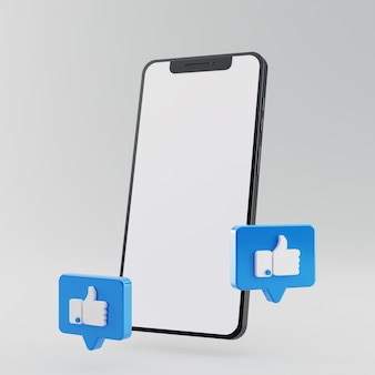 Pusty ekran smartfona z facebookiem, jak ikona renderowania 3d