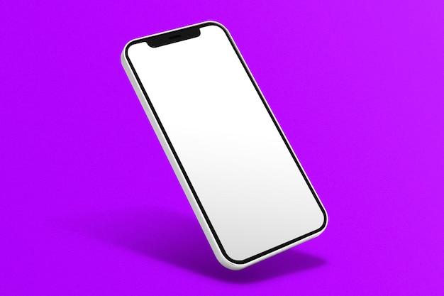 Pusty ekran telefonu na fioletowym tle
