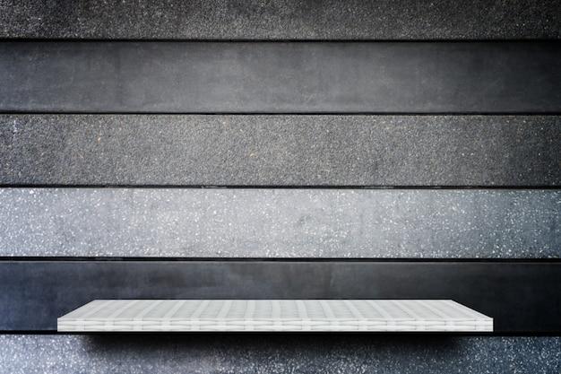 Pusty górny biały półki szary kamienny mur tło produktu wyświetlacz