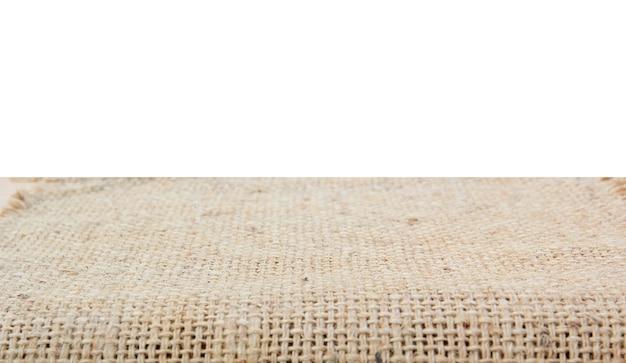 Pusty górny izolat juta na białym tle