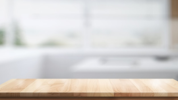 Pusty górny stół z drewna do montażu produktu lub żywności w tle nowoczesnej kuchni pokoju.