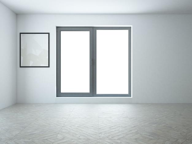 Pusty industrialny minimalistyczny czarno-biały pokój z drewnianą podłogą