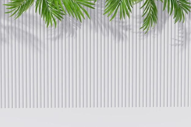 Pusty izbowy tło z palmowym liściem i cień na ścianie. renderowania 3d.