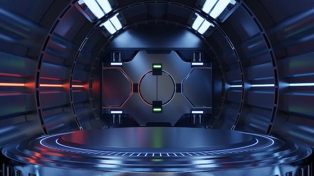 Pusty jasnoniebieski pokój studio futurystyczny duży hol sci fi z niebieskimi światłami, przyszłość projektowania, renderowanie 3d