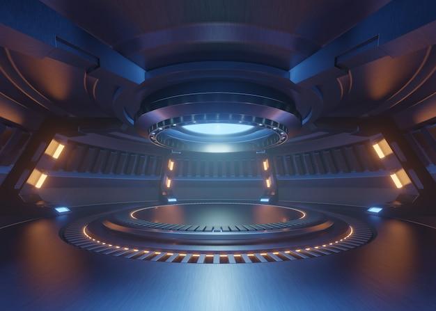 Pusty jasnoniebieski pokój studio futurystyczny wnętrze z pustą sceną z niebieskimi światłami