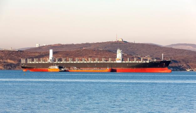 Pusty kontenerowiec frachtowiec czeka na władywostoku, rosja