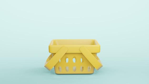 Pusty koszyk na zakupy plastikowy sklep renderowania 3d.