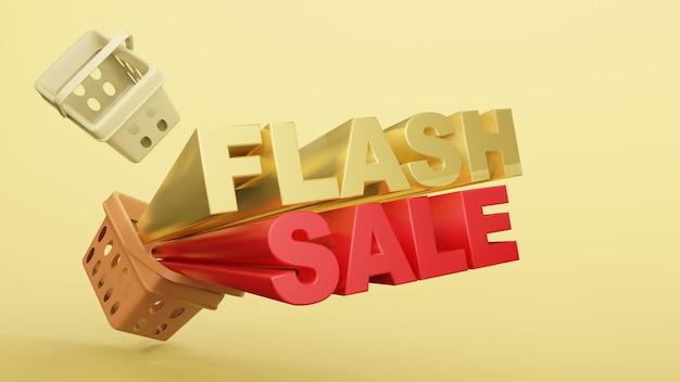Pusty koszyk na zakupy plastikowy sklep z brzmieniem flash sprzedaż renderowania 3d.