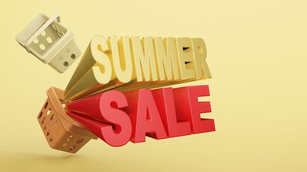 Pusty koszyk na zakupy plastikowy sklep z sformułowaniem letnia wyprzedaż renderowania 3d.