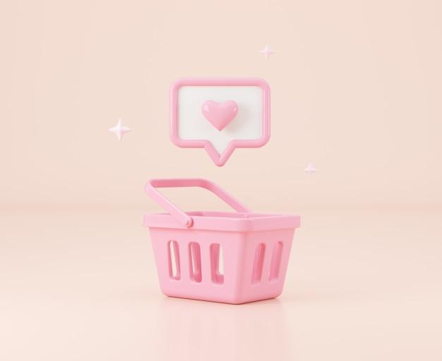 Pusty koszyk na zakupy z podobną do wiadomości ilustracja renderowania 3d