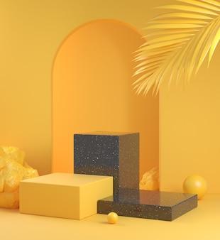 Pusty makieta krok podium z czarnego marmuru z żółtą koncepcją i liściem palmowym