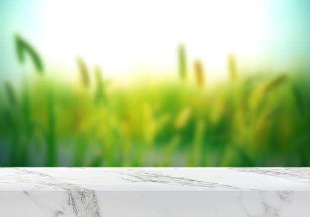 Pusty marmurowy stół na zielonym tle ogrodu tło produktu