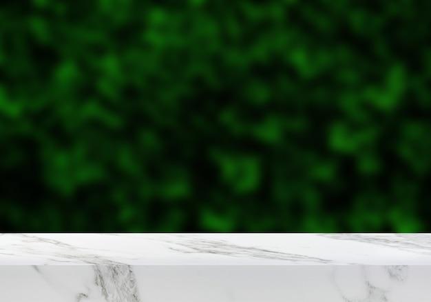 Pusty marmurowy stół w ogrodzie zielone liście tło produktu tło