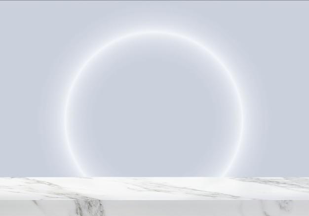 Pusty marmurowy stół z okrągłym światłem w jasnoniebieskim tle produktu w tle