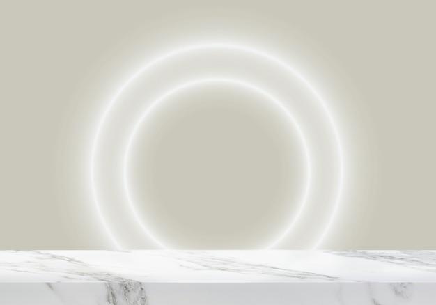Pusty marmurowy stół z okrągłym światłem w jasnym tle produktu w tle