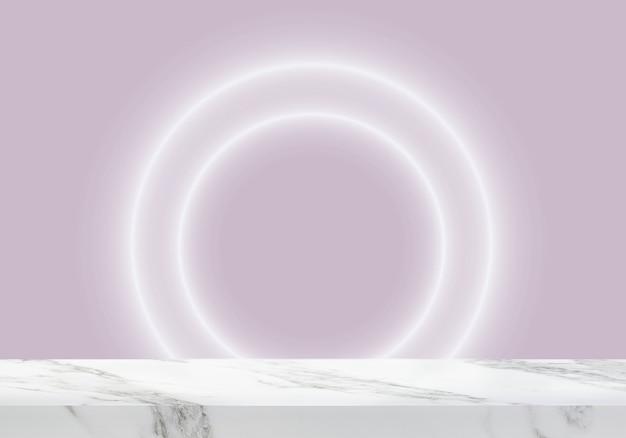 Pusty marmurowy stół z okrągłym światłem w różowym tle produktu w tle