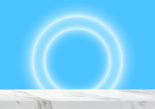 Pusty marmurowy stół z okrągłymi światłami na niebieskim tle produktu w tle